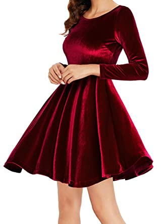 0089de063e Annigo Women s Red Velvet Short Fit and Flared Cocktail Dresses with Sleeve