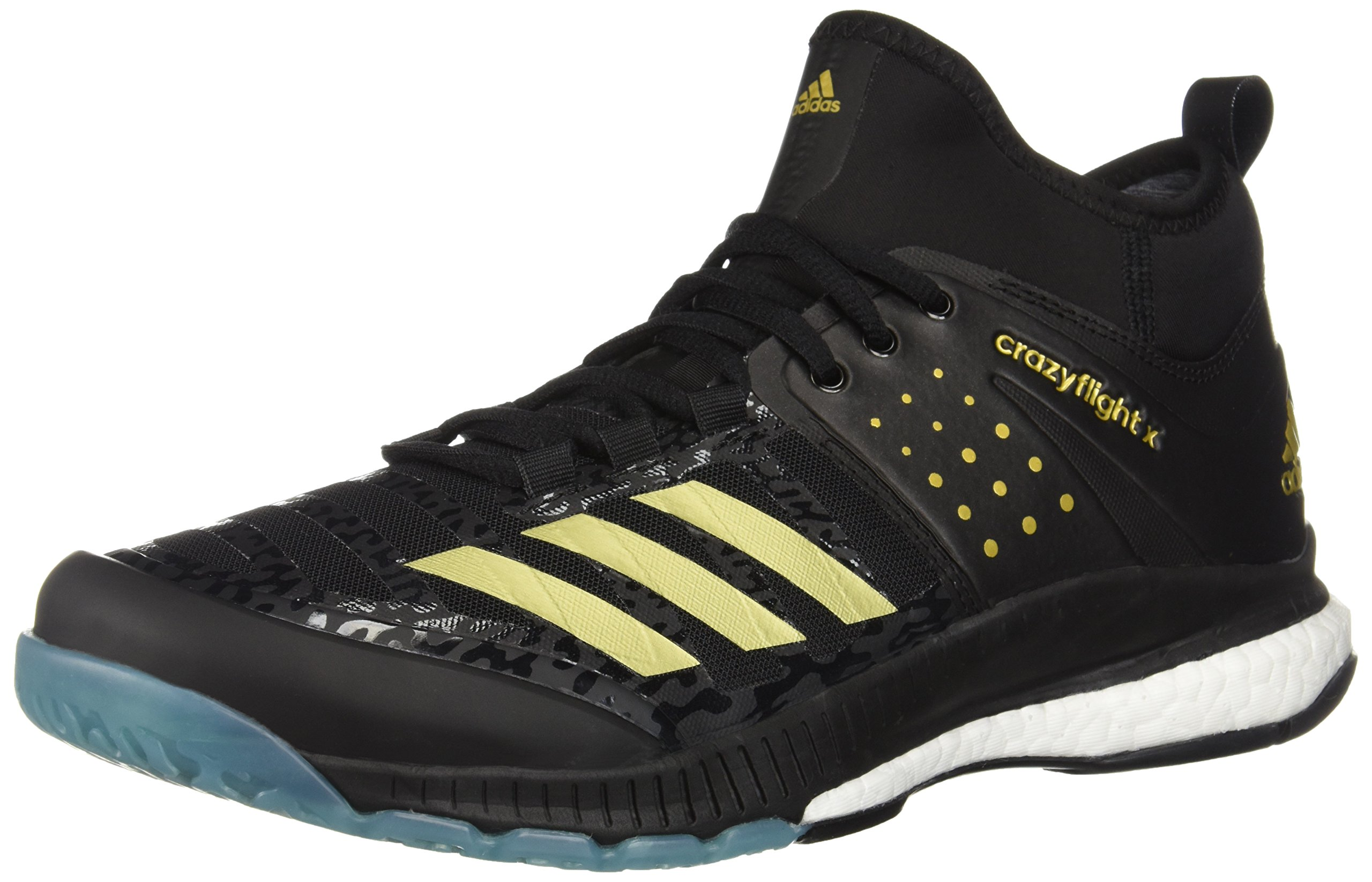 adidas Men's Crazyflight X Mid Volleyball Shoes, (Core Black, Gold Met, Icey Blue F17), (7 M US) by adidas