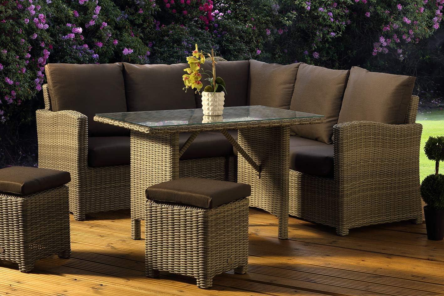 Desser Long Island Grey Luxury Rattan Outdoor Garden Patio Furniture Lounge Dining Set Wicker Corner Sofa Stool Glass Table Uk Made Cushions In Premium Dallas Fabric Amazon Co Uk Kitchen