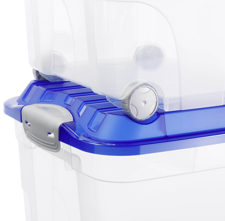 Rollbox kunststoff  Rotho Aufbewahrungs-Kiste ROLLER 6 transparent mit Deckel in blau ...