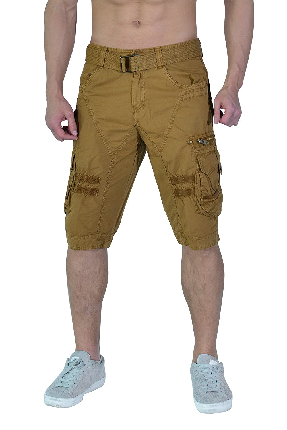 TWO BLOCKS OFF Cargo Shorts for Mens, Rib Waist/Multi Pocket,Leg Straight & Loose Fit CargoShorts18#2