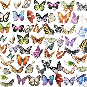 60pcs Scrapbook Stickers, Doraking DIY Decorative Butterfly Stickers for Envelope, Scrapbook, Luggage, Windows, Journals (Butterfly Collection, 60PCS/Pack)