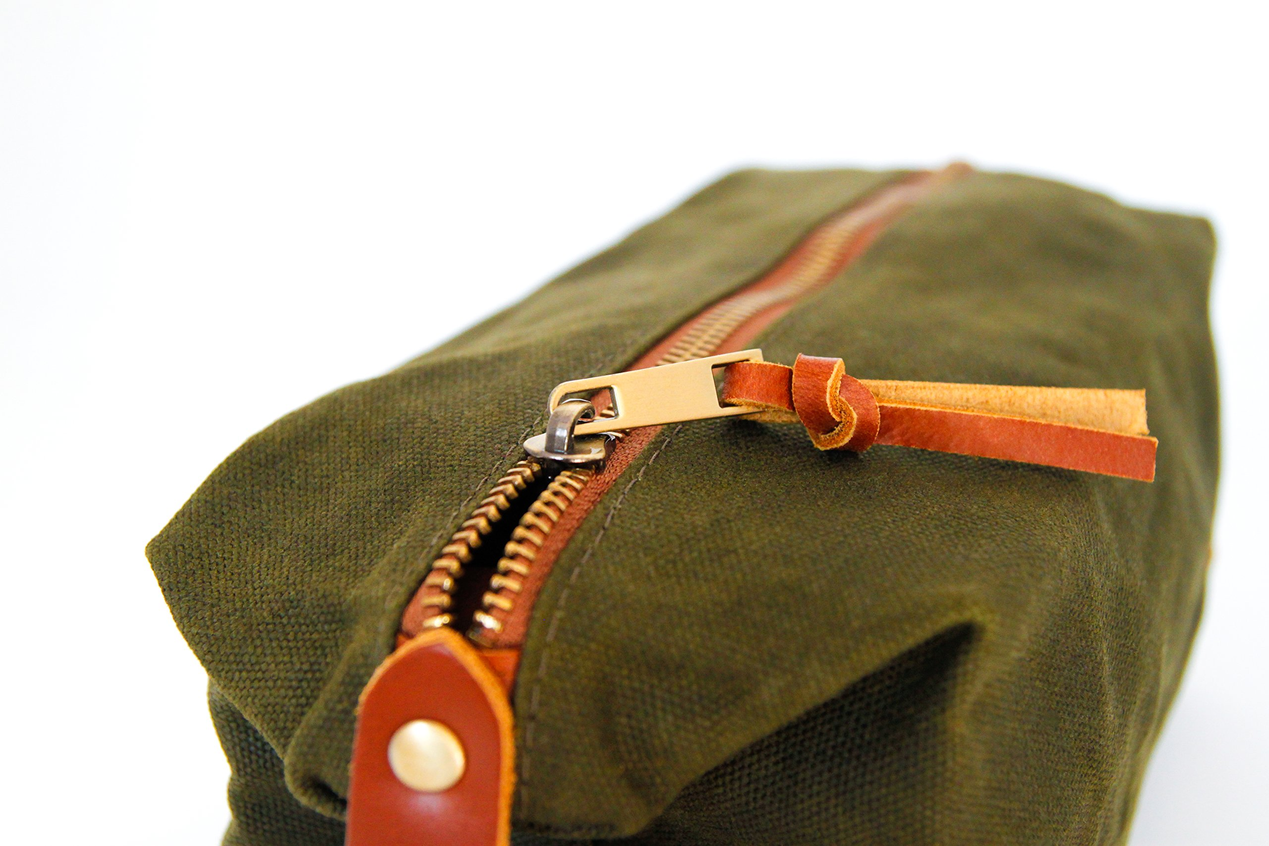 Zaffino Waxed Canvas Genuine Leather Trim Dopp Kit - Unisex Toiletry Bag & Travel Kit by Zaffino (Image #2)