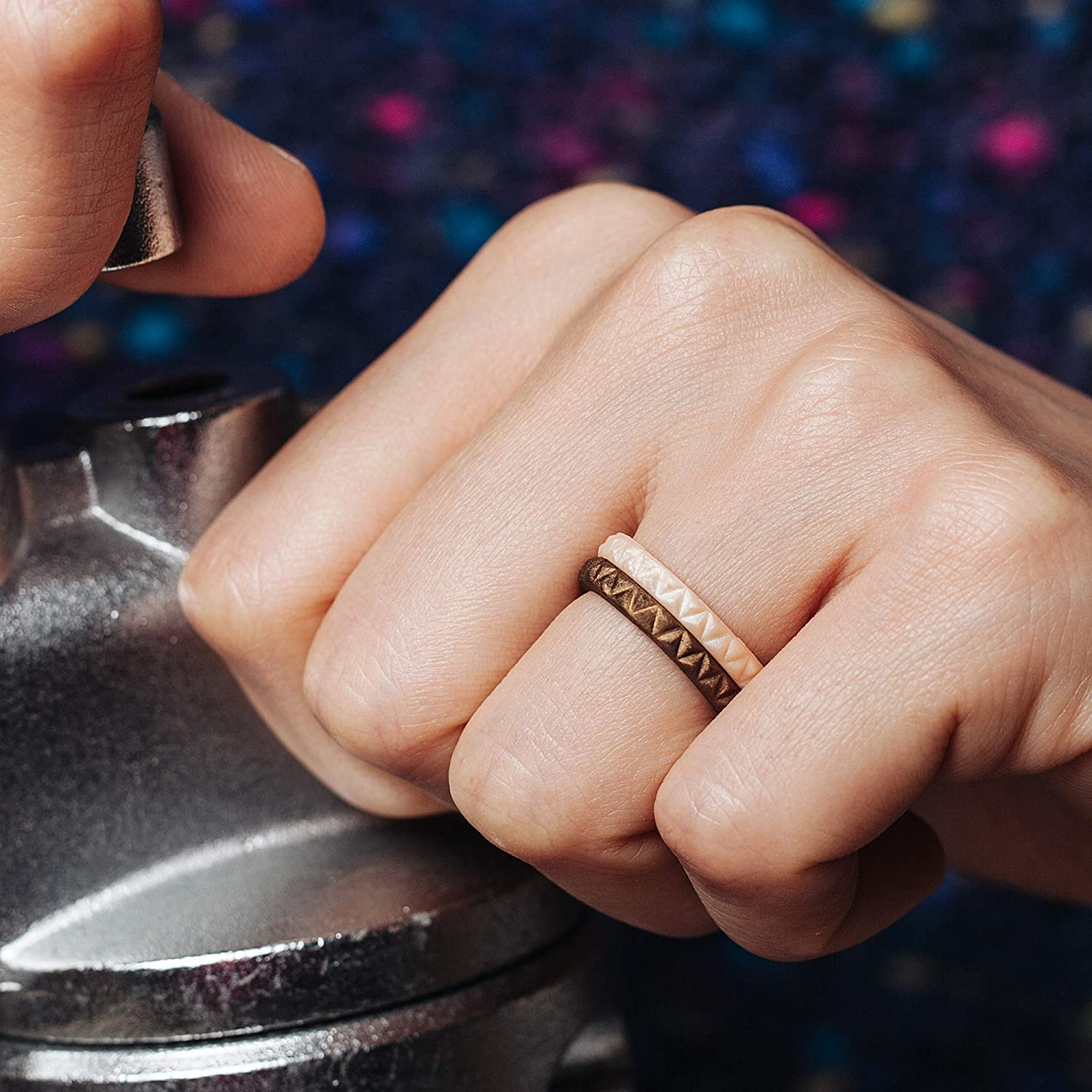 ThunderFit Womens Triangle Diamond Stackable Rings - 16 Rings / 12 Rings / 8 Rings / 4 Rings / 1 Ring - Thin Silicone Wedding Rings - 2.5mm Wide - 2mm Thick : Clothing