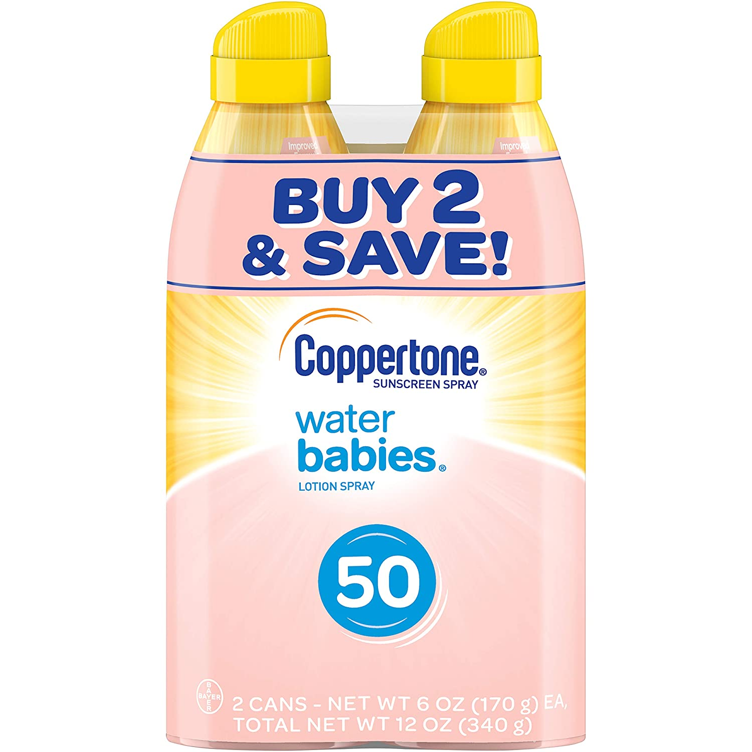 Coppertone WaterBabies Sunscreen Quick Cover Lotion Spray Broad Spectrum SPF 50 (6 Ounce per Bottle, Pack of 2) (Packaging may vary)