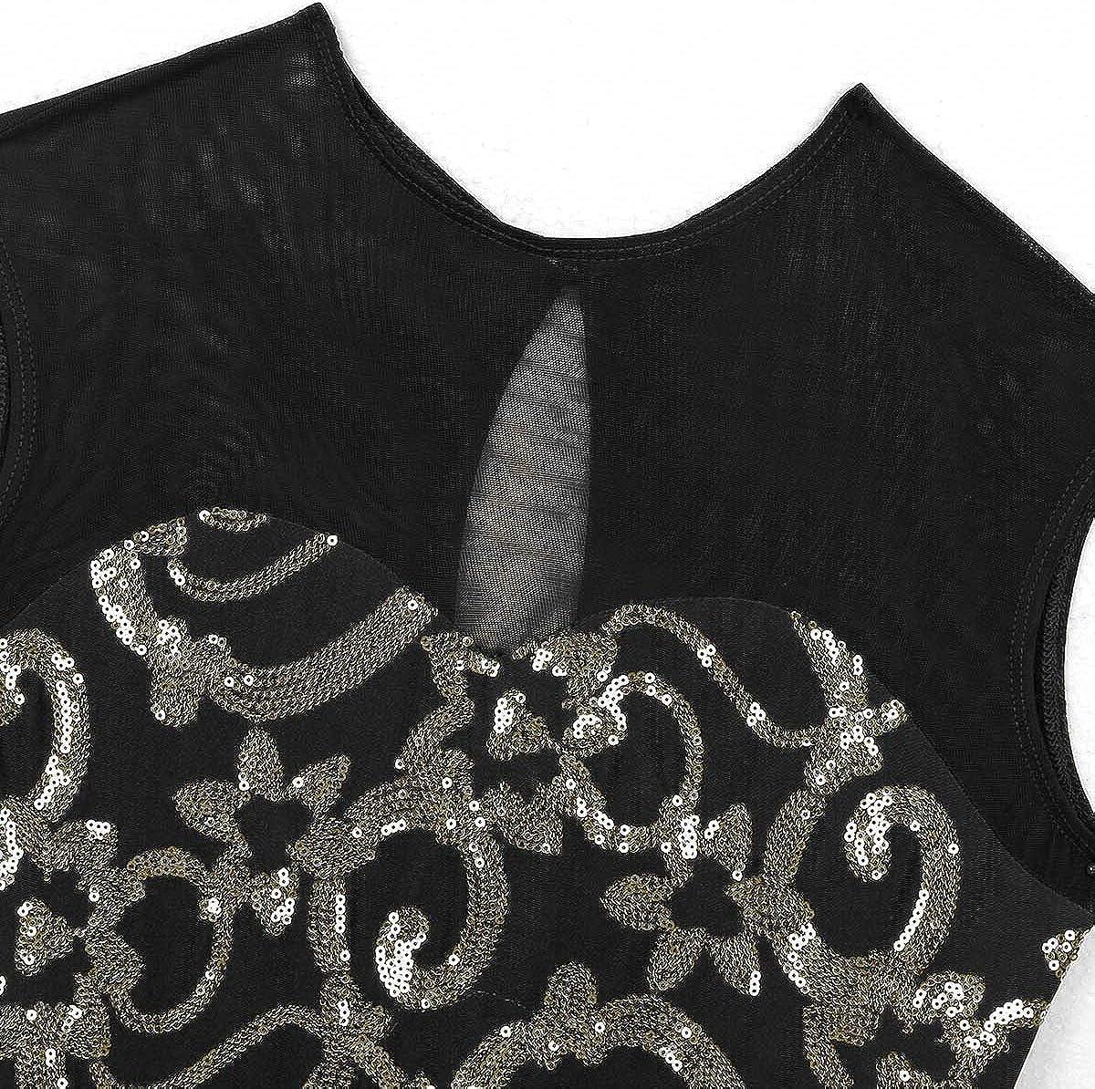 Tiaobug Donna e Ragazza Vestito da Ballo Jazz Balletto Danza Classica Leotard Body da Ginnastica Dancewear per Spettacolo Competizione Performance Abbigliamento Elegante