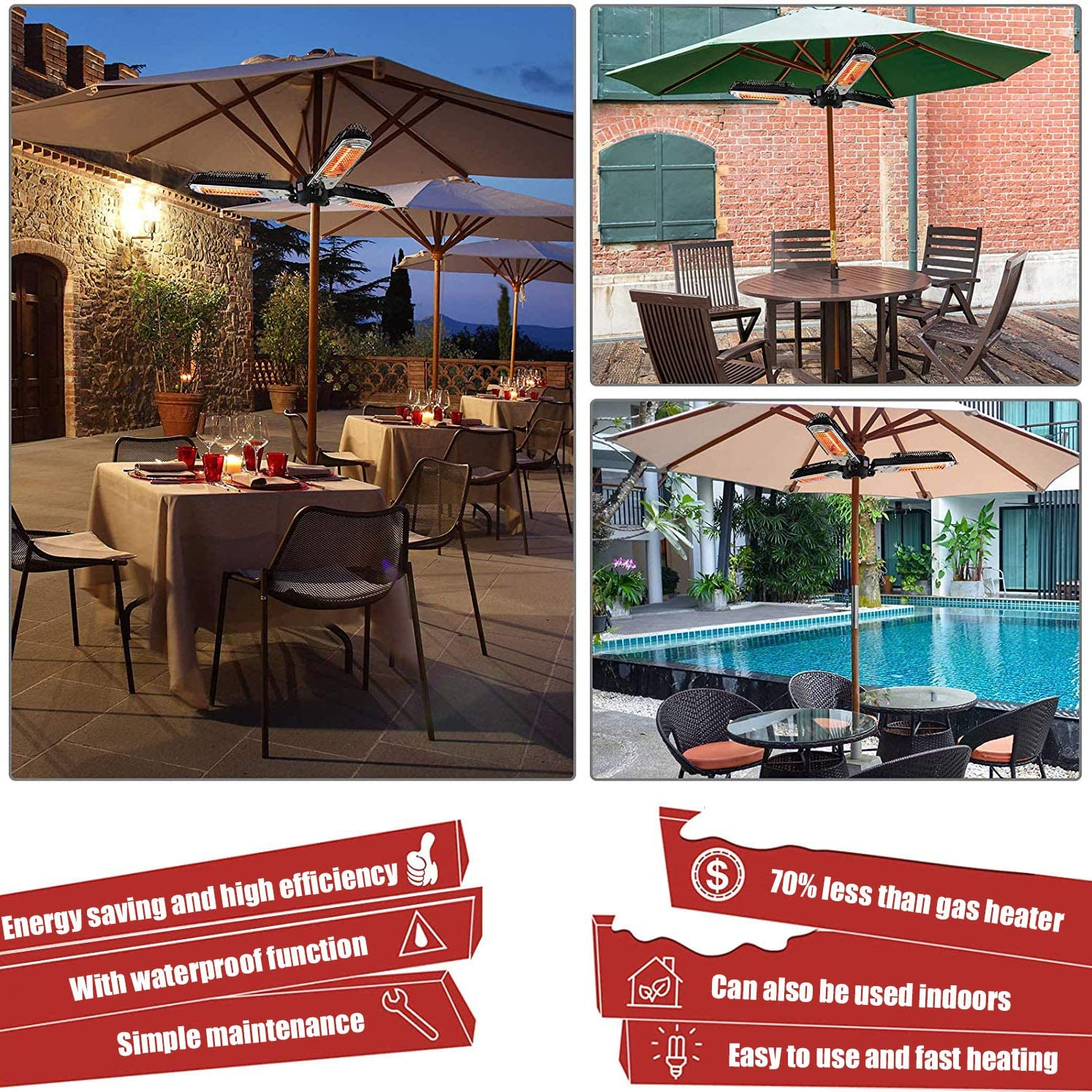 Infrared Outdoor Heaters Super Quiet 3s Instant Warm Weatherproof With 3 Adjustable Power Settings 650//1300//1950w for Pergola or Gazabo WANGXIAO Electric Patio Umbrella Heater