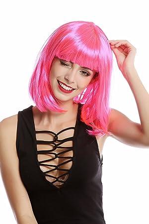 WIG ME UP ® - 0073-3-PC5 Peluca Mujer Carnaval Halloween Corto hasta los Hombros Liso Bob Bobo Rosa Fuscia: Amazon.es: Juguetes y juegos