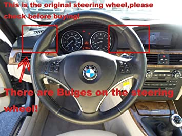 XuJi Hand Sewing Black Genuine Leather Steering Wheel Cover for BMW 128 I 135 I/BMW 325 I 328 I 328 XI 328 I XDrive/BMW 330 XI/BMW 335 I 335 XI 335 D 335 I XDrive