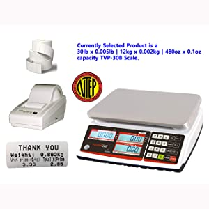 VisionTechShop TVP-30B Price Computing Scale, Lb/Oz/Kg Switchable, 30lb Capacity, 0.005lb Readability, NTEP Legal for Trade, DLP-50 Thermal Label Printer, 1 Case of Labels LST8060