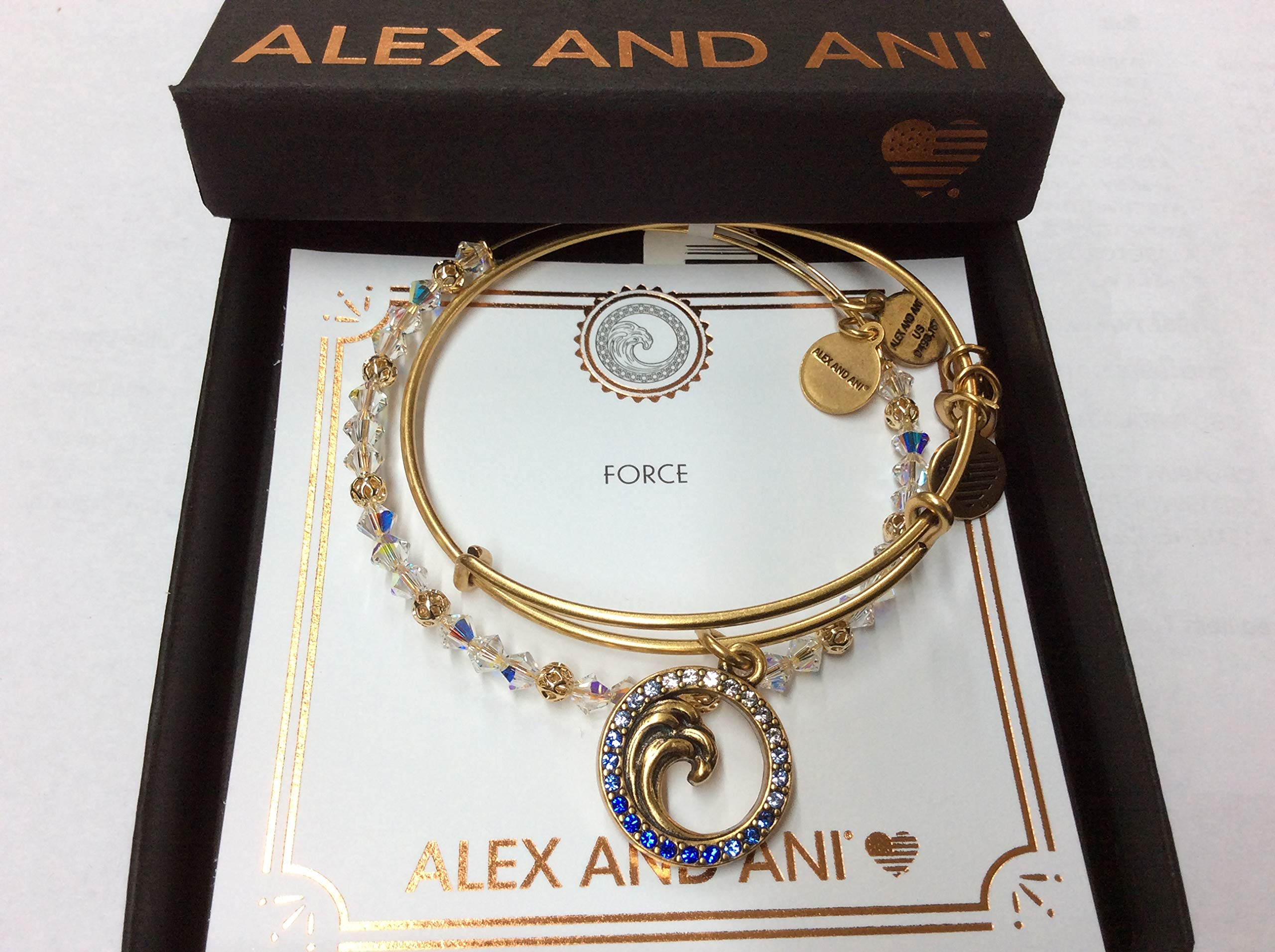 Alex and Ani Women's Crystal Wave Set of 2 Bracelet, Rafaelian Gold