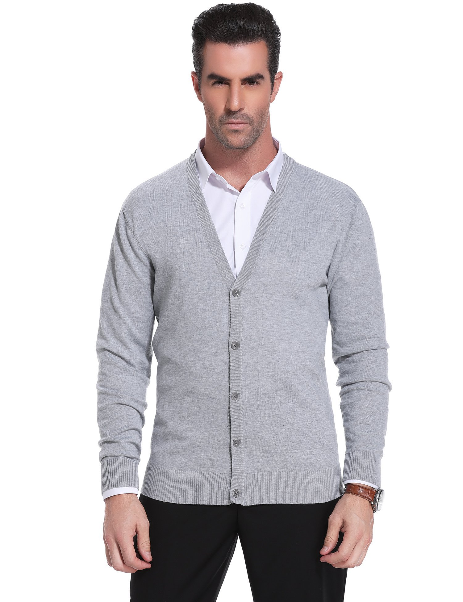 iClosam Mens Casual V-Neck Slim Fit Basic Long Sleeve Button Down Cardigan