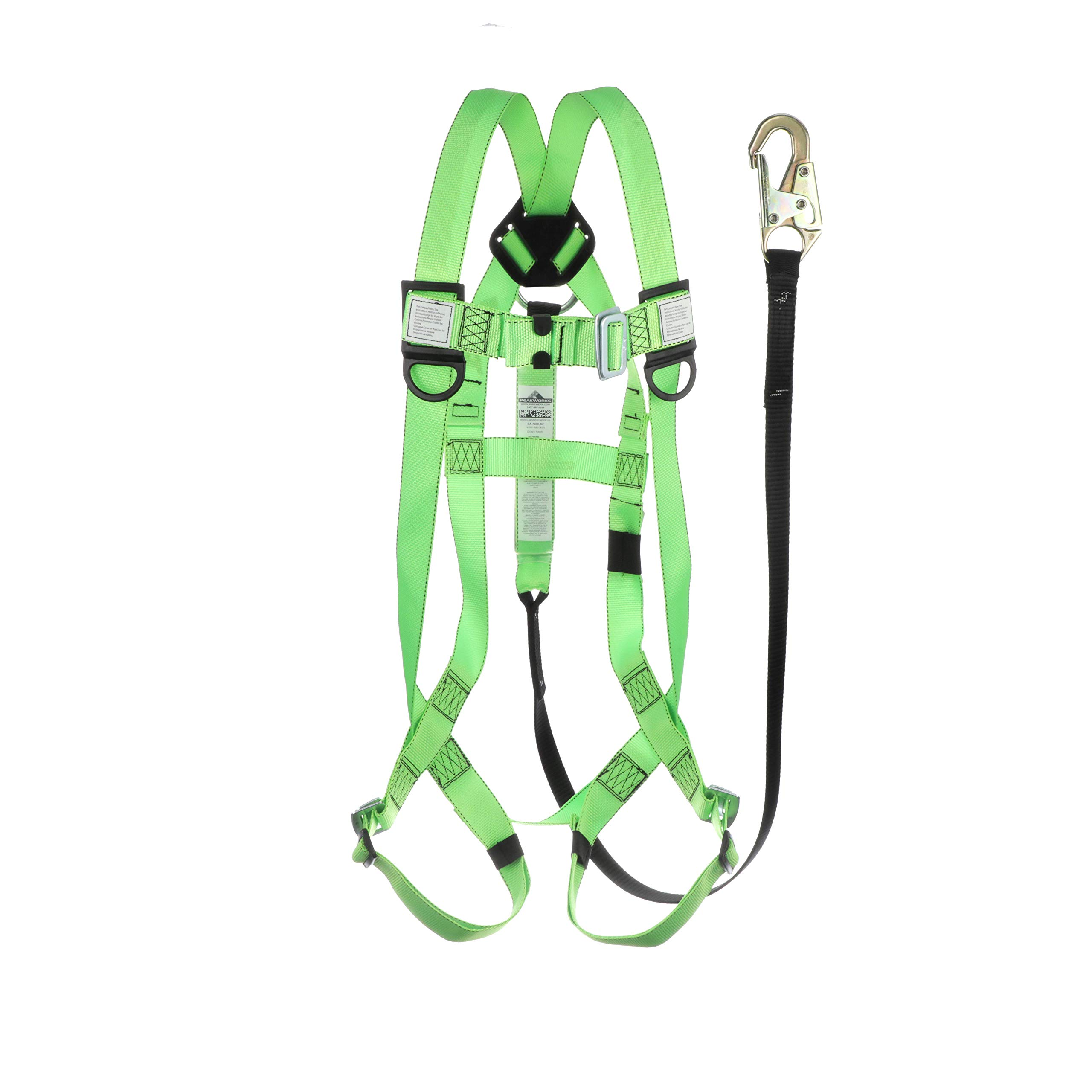 Peakworks Fall Protection V8252366 OSHA/ANSI Compliant Safety Harness and 6 ft. Lanyard Kit by Peakworks