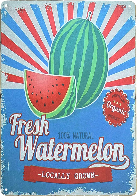TISOSO Locally Grown Fresh Watermelon Retro Vintage Metal Tin Signs Wall Art Country Tin Bar Sign Home Decor 8X12Inch