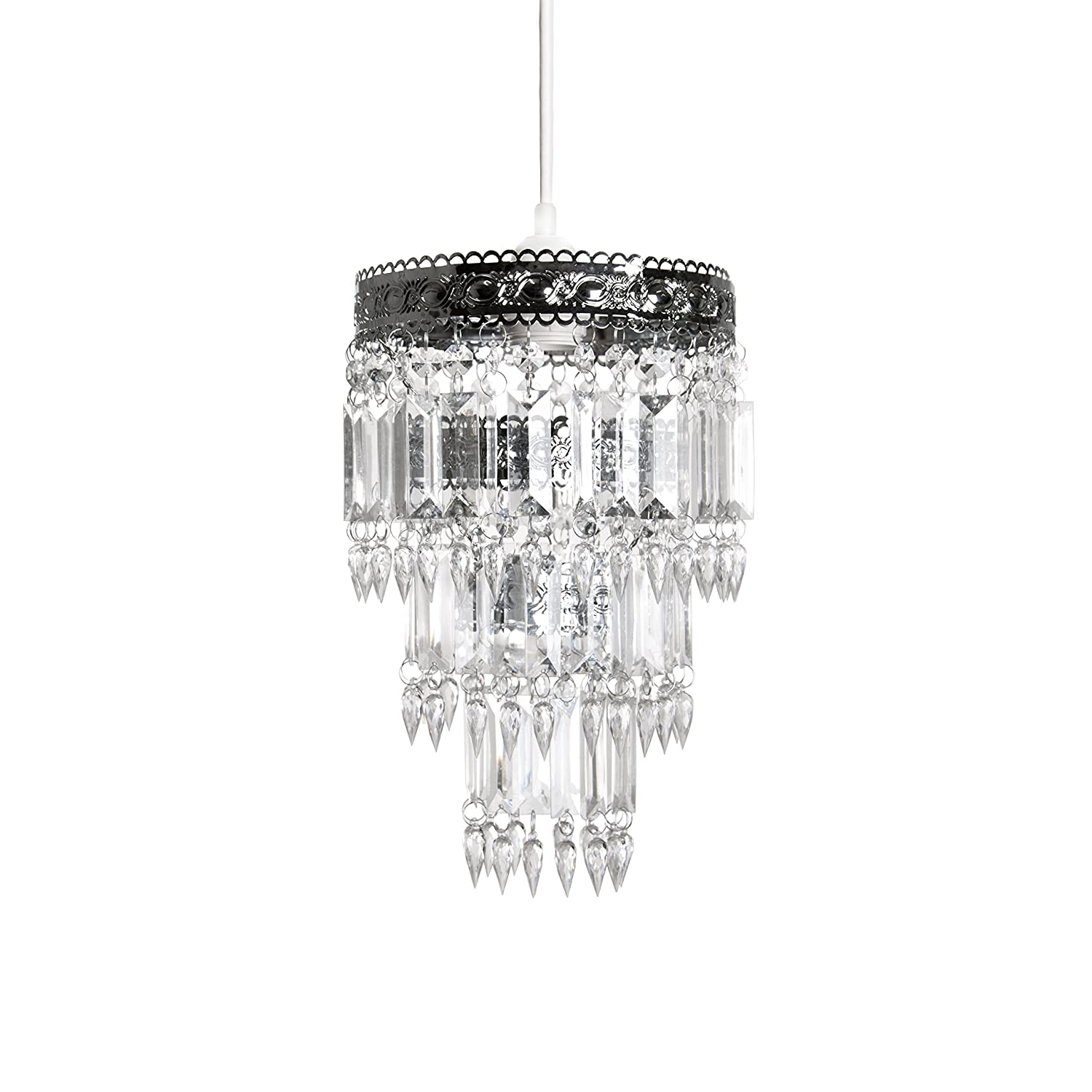 Amazon com tadpoles faux crystal s crown shade small chandelier style home kitchen