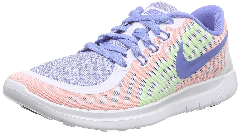 best loved 851de cd284 Nike Girl's Free' 5.0 Running Shoe White/Chalk Blue/Volt/White, 6Y US Big  Kid