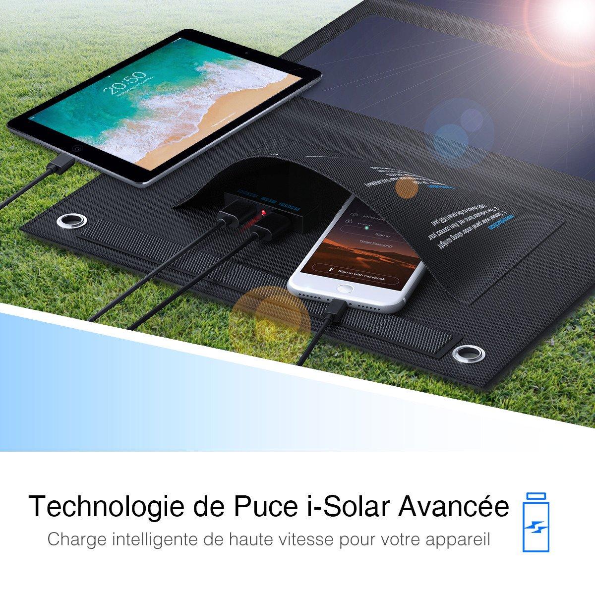 Poweradd Panneau Solaire Pliable 24W, Deux Ports Cachés de Sortie 4.8A Total Chargeur Solaire Imperméable de Haute Conversionet et Deux Câble USB Inclus pour iPhone, Androids et des Tablettes, etc.