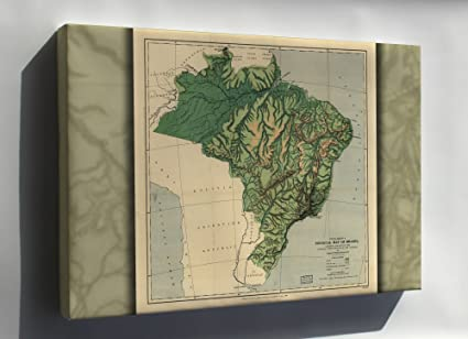 Amazon Com Canvas 16x24 Physical Map Of Brazil 1886 Everything Else