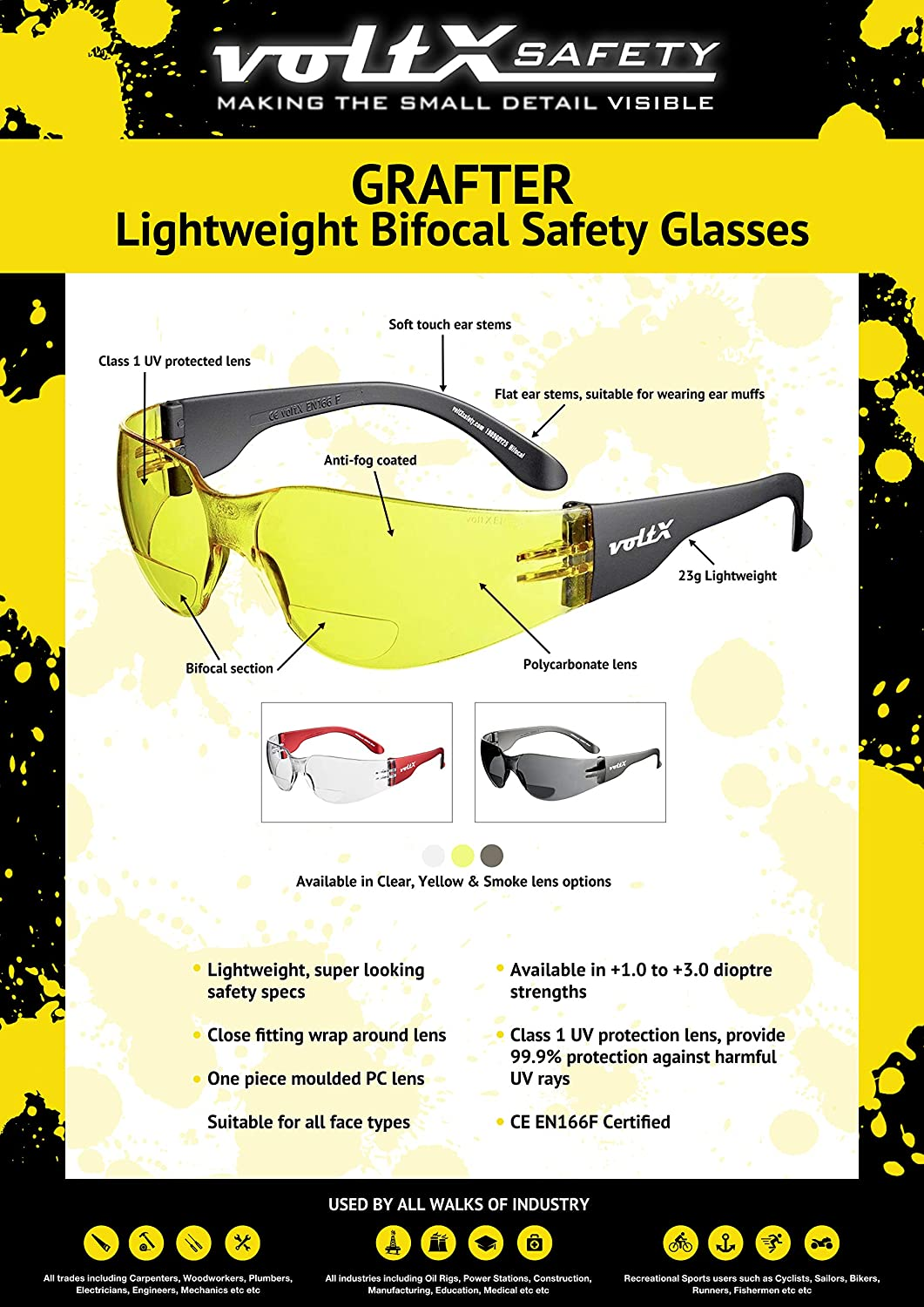 Cycling Sports Glasses CE EN166f certified CLEAR LENS +1.5 Dioptre voltX GRAFTER Bifocal Lightweight Reading Safety Glasses