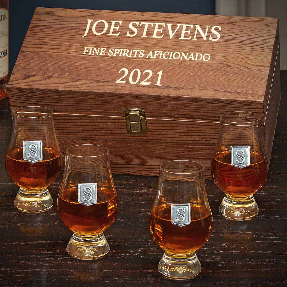 Personalized Glencairn Whiskey Glasses Set with Regal Crest (Customizable Product)