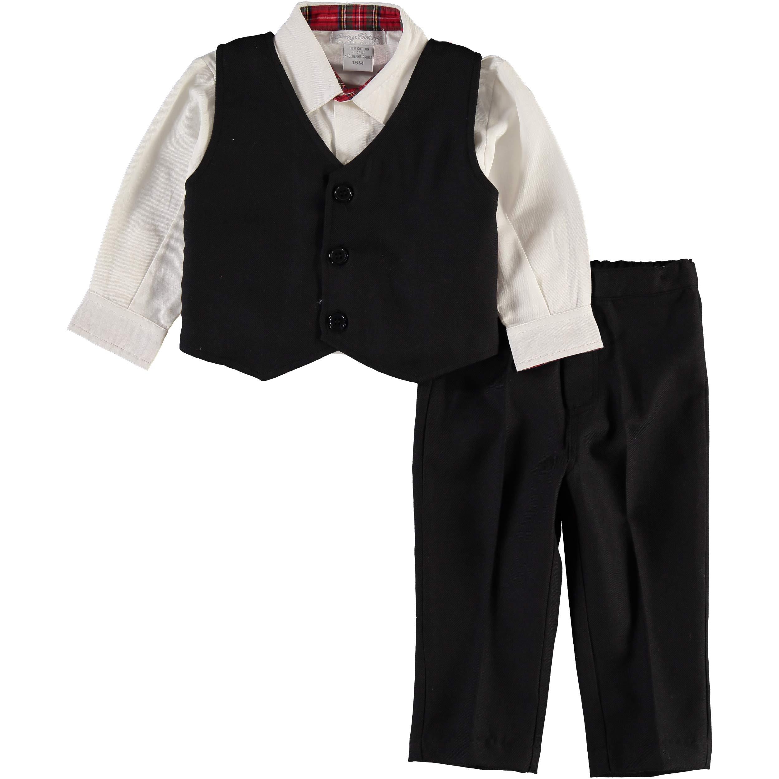 Carriage Boutique Boys Plaid Party 3pc Vest Set-Cream Shirt