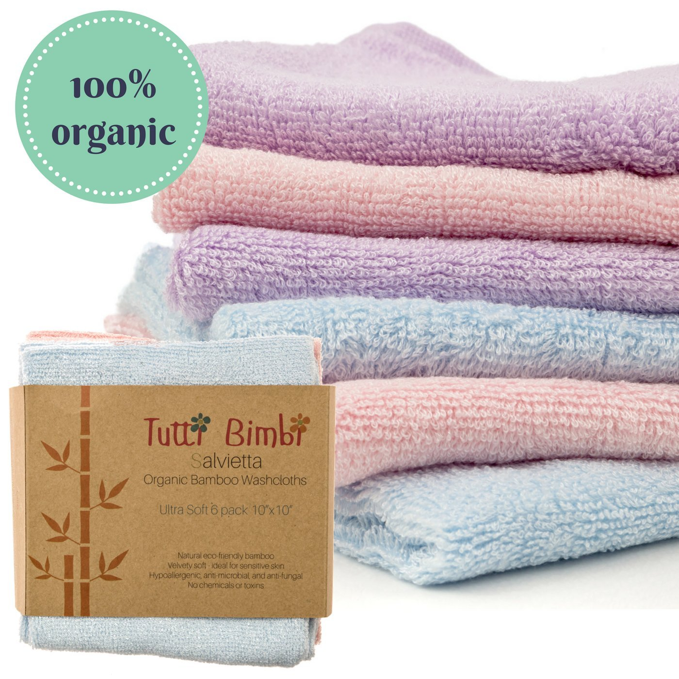 """Organic Bamboo Baby Washcloth Flannels ULTRA SOFT   6 Pack   Certified Organic - Best for Newborn Sensitive Skin, Eczema   Baby Travel Bathing Gift Kit   10"""" x 10"""" Large Extra-Thick Towels (512gsm)"""