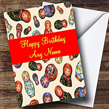 Russian Babushka Dolls Personalised Birthday Card Amazoncouk Office Products