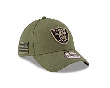 144bc4a01588ef New Era Oakland Raiders 39thirty Stretch Cap On Field 2018 Salute to Service  Green - S-M