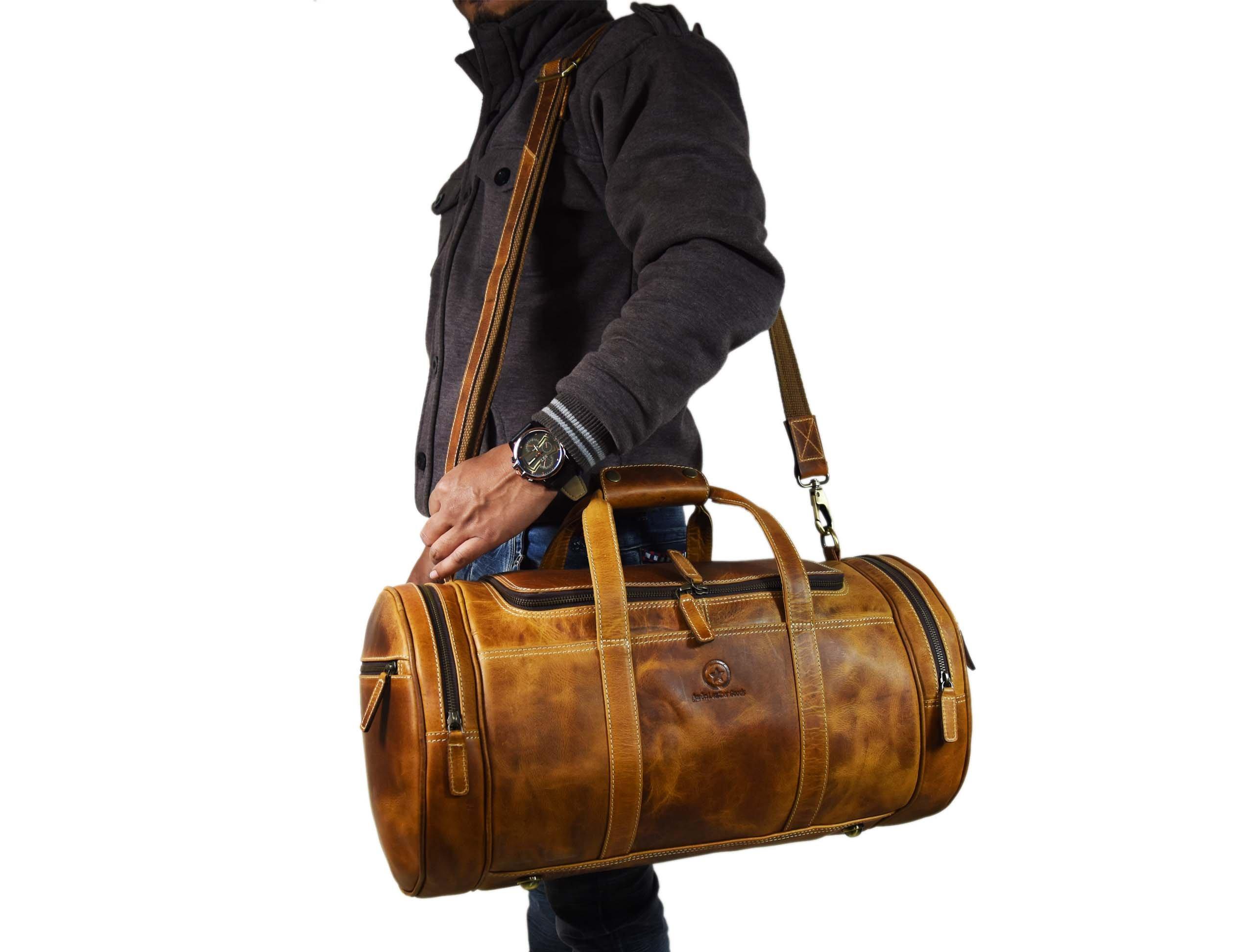 Travel Duffel Overnight Barrel Weekend Leather Bag by Aaron Leather (Brown) by Aaron Leather (Image #6)