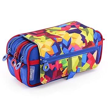 58301 Portatodo Triple de Amplios Apartados Interiores con Cremallera Individual, Estuche Multiuso para Material Escolar y Viaje. Boys Camouflage