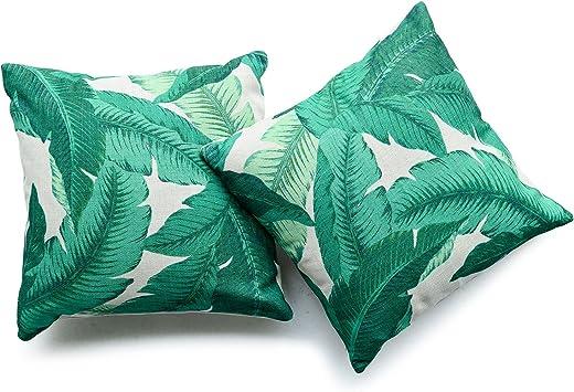Hofdeco Decorative Throw Pillow Cover HEAVY WEIGHT Cotton Linen Modern Tropical Banana Palm Leaf 18x18 45cm x 45cm Set of 2