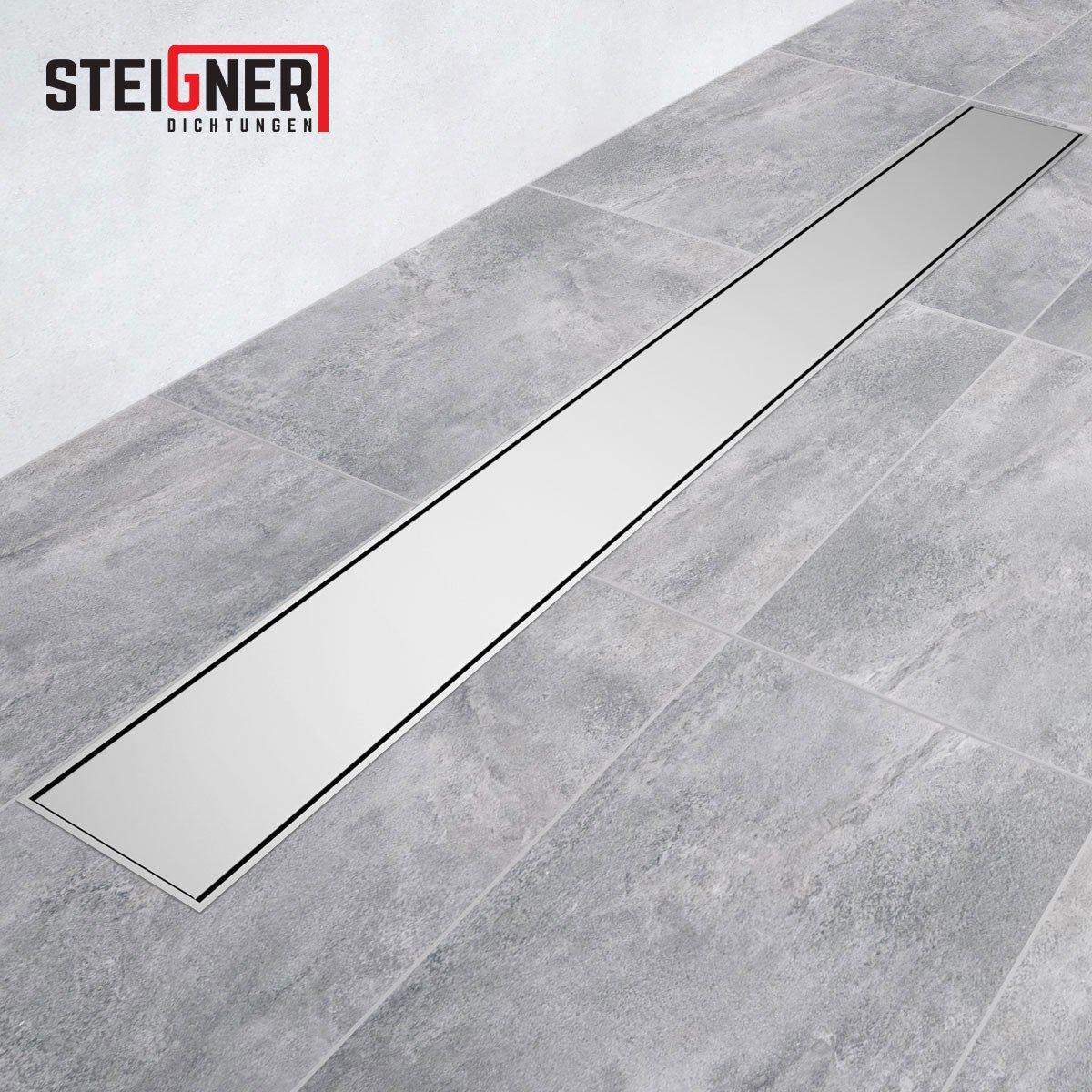 STEIGNER Drain lin/éaire 90 cm SDR90 Amsterdam Caniveau de Drainage Acier Inoxydable Siphon en M/étal