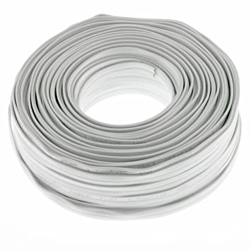 Lautsprecherkabel Flach 2x1,5mm² - Weiss - 50m: Amazon.de: Elektronik