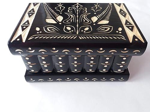 Caja puzzle nuevo grande negro caja de joyas talladas caja mágica misterio caja de madera rompecabezas caja secreta trinket complicado cajón de madera caja escondida: Amazon.es: Handmade