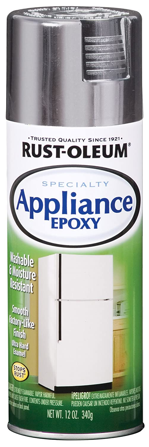 Rust-Oleum 7887830 Specialty Appliance Epoxy Spray Paint, 12 Oz Aerosol, 7 Sq-Ft/Can, Stainless Steel, 12-Ounce,