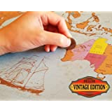 Scratch Off World Map - Vintage Deluxe - States & Provinces for US, Canada, Australia - XL Large Poster 24x36 Easy to Frame - Classic Gift - Free Precision Pen & Fun Trivia Game