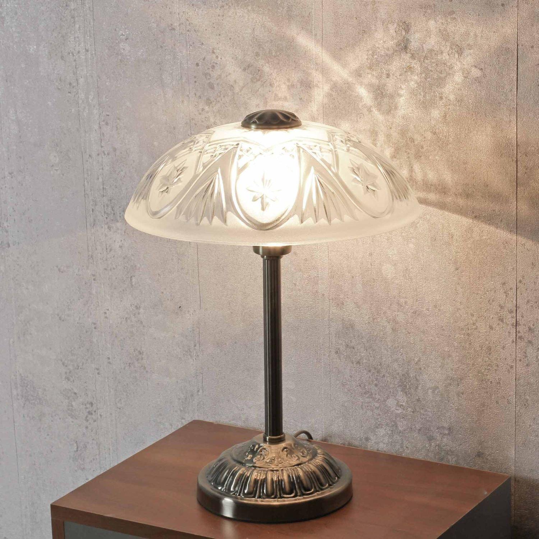 Hochwertige Tischleuchte in Bronze Jugendstil inkl. 1x 6W E14 LED 230V Nachttischlampe aus Metall & Glas für Wohnzimmer Schlafzimmer