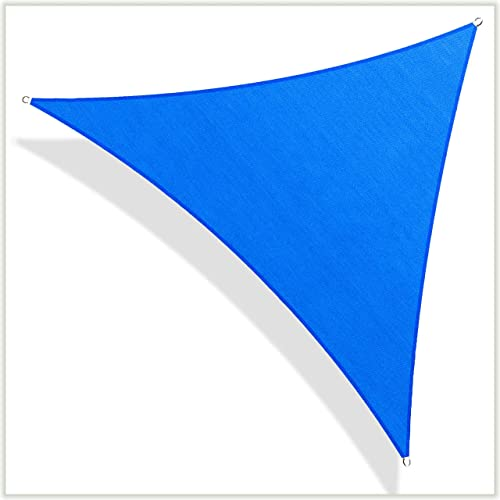 ColourTree Customized Size Order to Make Sun Shade Sail Canopy Mesh Fabric UV Block Triangle TAPT32 Blue – Commercial Standard Heavy Duty – 190 GSM – 3 Years Warranty Custom Size