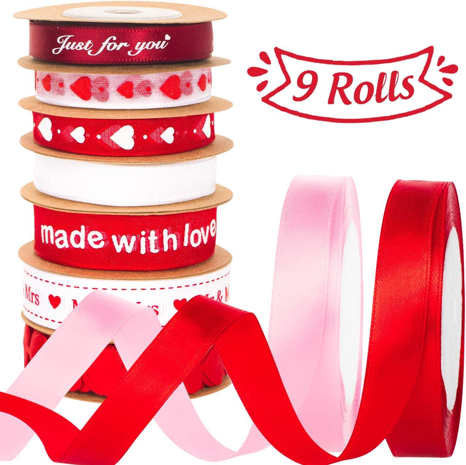 Whaline - Cintas para el día de San Valentín, 9 rollos de cinta de grogrén estampada satinada para decoración de boda, día de San Valentín, manualidades (10 mm / 15 mm de ancho)