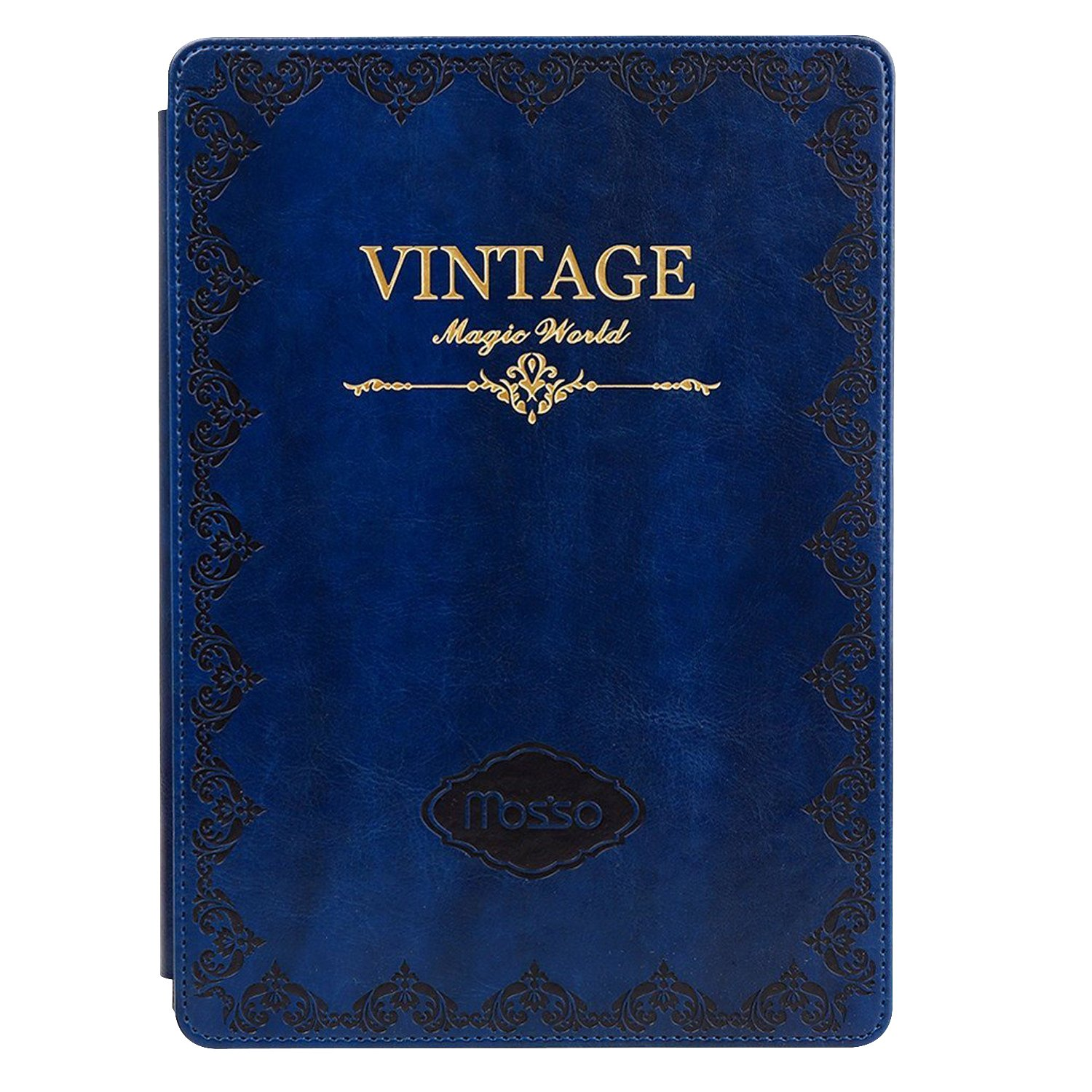 MOSISO Case for iPad Mini 4, Vintage Classic Retro Book Style Smart Cover with Multi-viewing Stand Auto Wake/Sleep Functionfor iPad Mini 4(7.9 Inch, 2015 Release), Blue