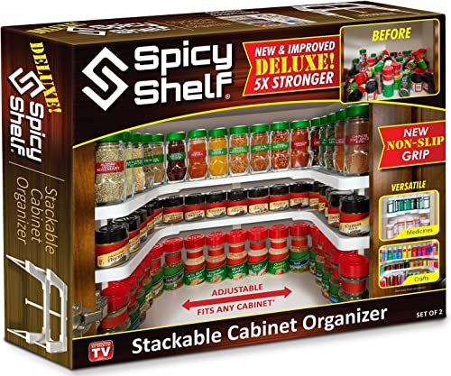 Spicy Shelf Deluxe – Expandable Spice Rack and Stackable Cabinet Pantry Organizer 1 Set of 2 shelves – As seen on TV