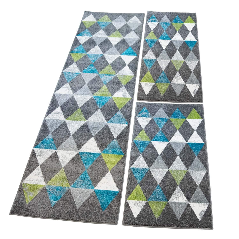Carpet city Bettumrandung Flachflor mit Modernen Mosaik-Muster in Grau Türkis Grün, 3-teiliges Teppich-Läuferset 2X 80x150cm  1x 80x300cm für Schlafzimmer