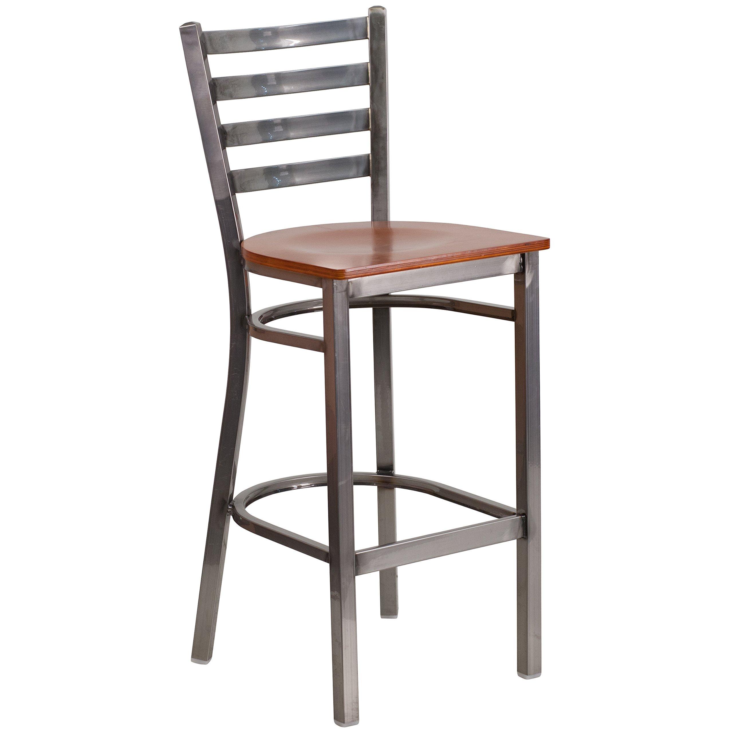 Flash Furniture HERCULES Series Clear Coated Ladder Back Metal Restaurant Barstool - Cherry Wood Seat