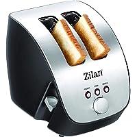 Grille-pain en acier inoxydable - 2 tranches de pain design - Grille-pain design - Machine à toast automatique - 1000 W - Boîtier en acier inoxydable - Design inox - Design inox