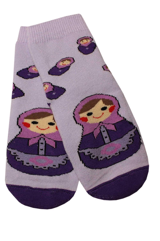 Weri Spezials Baby und Kinder Voll-ABS Socke Matrjoschka Motiv in Flieder