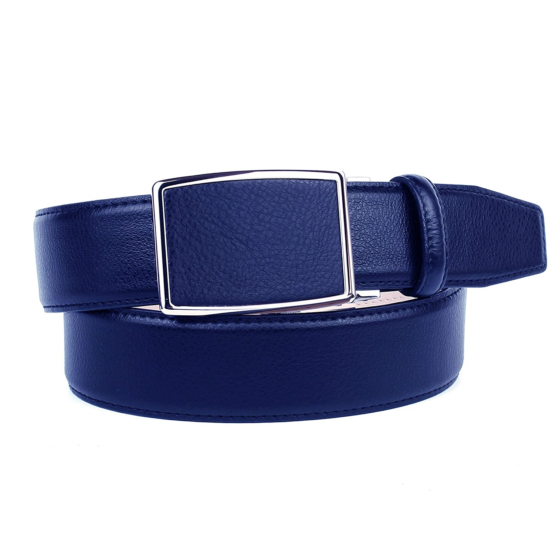Anthoni Crown Designer Herrengürtel Leder dunkelblau 4,0 cm Breite Automatik 85cm-120cm/18T80