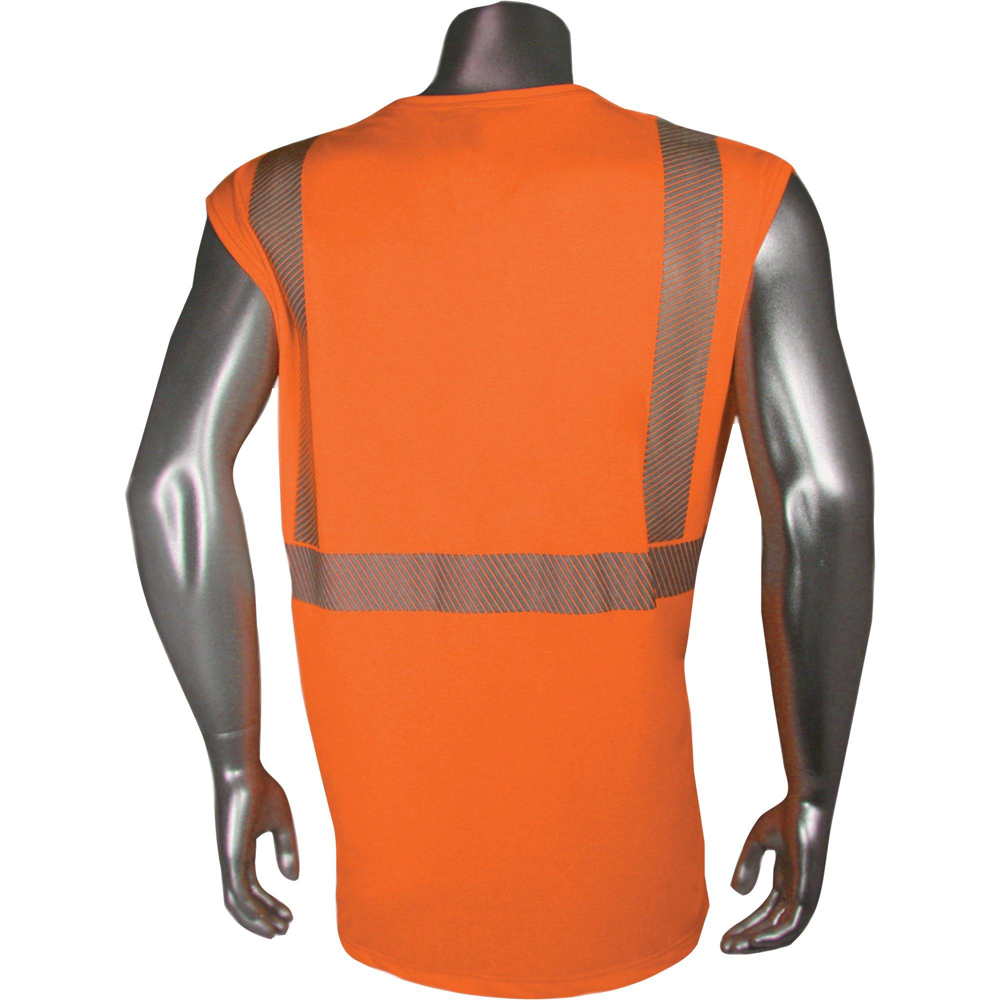 Radians RadWear USA Class 2 Breezelight Mesh Sleeveless Safety T-Shirt - Orange, XL, Model# HV-XTSARNS