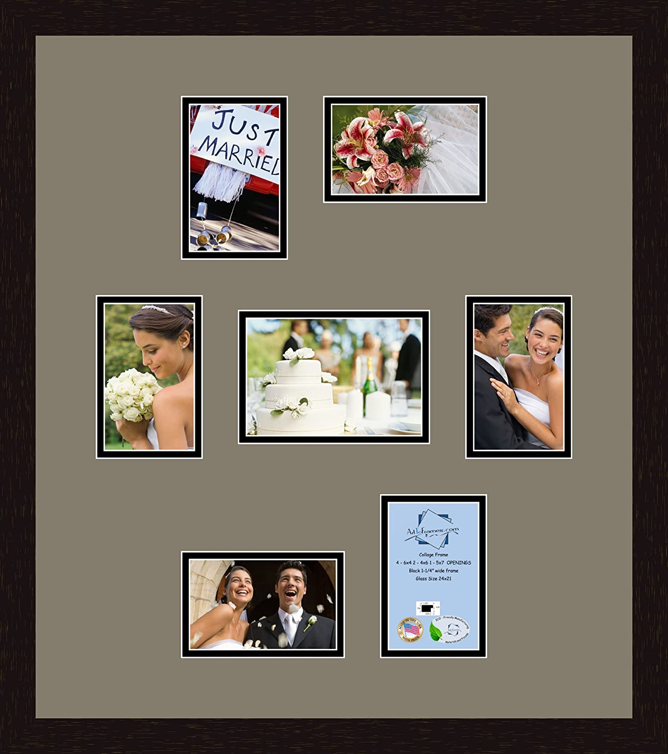 Art to Frames Double-Multimat-356-782//89-FRBW26079 Collage Photo Frame Double Mat with 1-8x10 and 5-5x7 Openings and Satin Black Frame