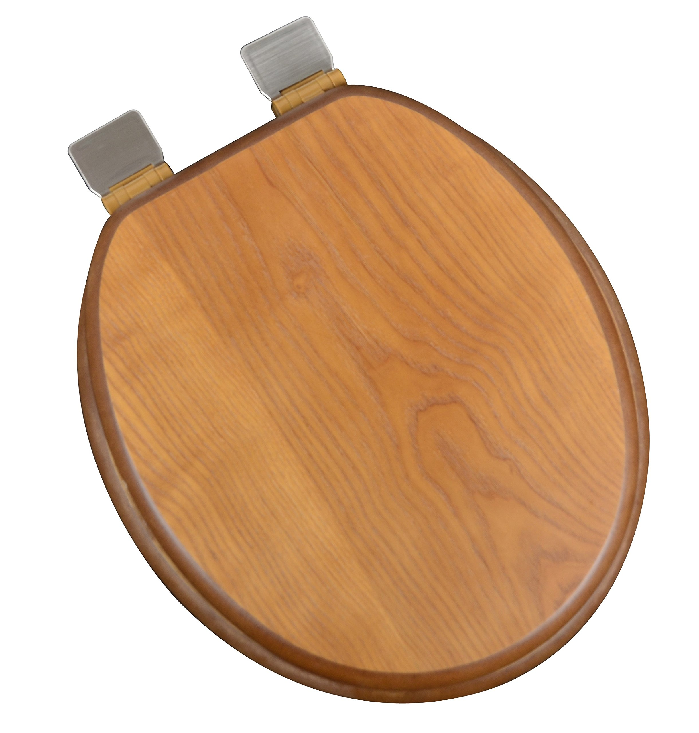 Bath Décor 5F1R1-18BN Round Dark Brown Stained Finish Toilet Seat with Adjustable Brushed Nickel Hinge and Decorative Finish
