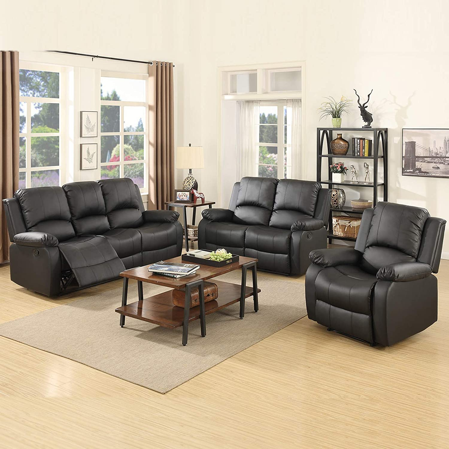 Mecor 4 Piece Sofa Set Bonded Leather Motion Sofa Reclining Sofa Chair  Living Room Furniture with 4-Seat Sofa, Loveseat and Recliner Chair,Black